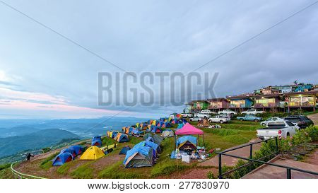 Phetchabun, Thailand-oct 24, 2018: Tourists, Cars, Tents And Resorts On Camping Areas At Phu Thap Be