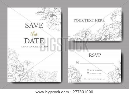 Vector Silver Peony Flower. Engraved Ink Art. Wedding Background. Thank You, Rsvp, Invitation Elegan