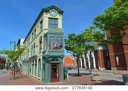 Portland, Me, Usa - Jun 20, 2015: Portland Arts District H. H. Hay Building Was Built In 1820 At The