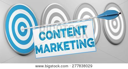 Content marketing as content strategy concept with arrow on target (3d rendering)