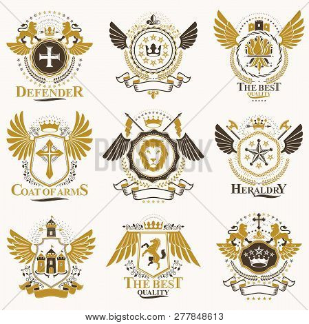 Collection Of Vector Heraldic Decorative Coat Of Arms Isolated On White And Created Using Vintage De
