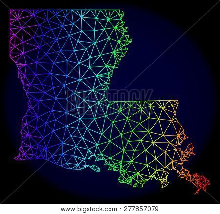 Spectrum Colored Mesh Vector Map Of Louisiana State Isolated On A Dark Blue Background. Abstract Lin