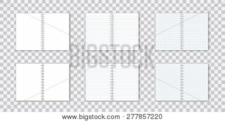 Vetor Set Of Detailed Paper Notebook With Lines And Circular Binding On Transparent Background.