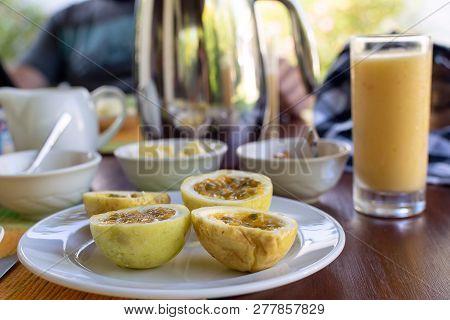 Sri Lankan Homemade Breakfast - Paratha Bread, Lentils Dal And Pol Sambol Spicey Coconut Condiment