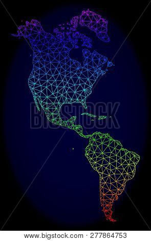 Spectrum Colored Mesh Vector Map Of South And North America Isolated On A Dark Blue Background. Abst