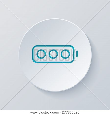 Simple Empty Battery, None Level. Cut Circle With Gray And Blue Layers. Paper Style