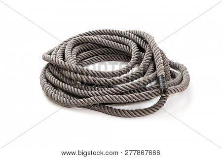 Heavy rope for fitness training on white background