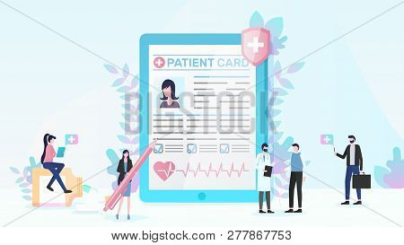 Healthcare Flat Vector Concept With People Using Online Medical Service, Doctor Consulting Patient,