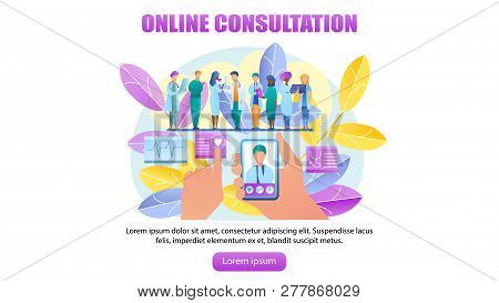 Vector Illustration Online Consultation Doctor. Horizontal Banner Image Group Doctor Stand In Row. H