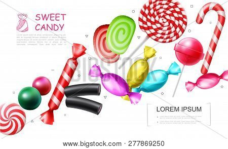 Realistic sweet candies collection with lollipop bonbons candy cane marmalade jelly gums licorice vector illustration poster