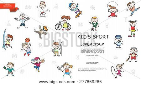 Sketch Kids Sport Colorful Collection With Boys And Girls Characters In Sportswear Doing Sport Vecto