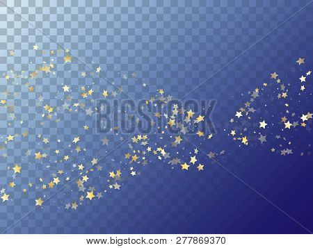 Star Shining Gold Gradient Sparkles On Transparent Background. Carnival Vector Magic Stars Gold Fall