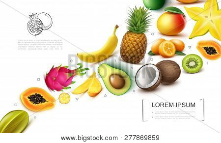Realistic Exotic Fruits Collection With Carambola Papaya Dragonfruit Mango Kiwi Banana Pineapple Coc