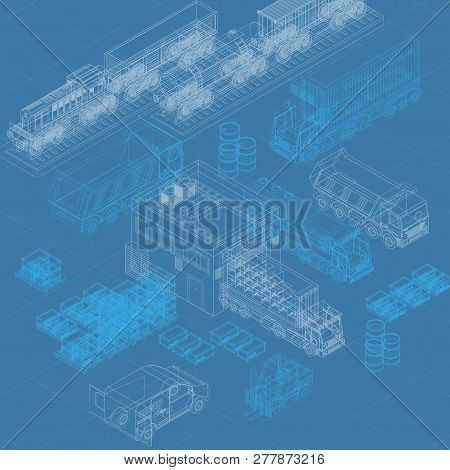 Blueprint Isometric Design Of Vector Image With Delivery Concept Presenting Different Transport