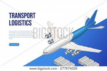 Contemporary Web Design In Isometry Of Page Presenting Information About Transport Logistics With Pl