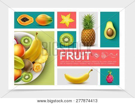 Realistic Exotic Fruits Set With Pineapple Kiwi Avocado Banana Papaya Kumquat Mango Carambola Dragon
