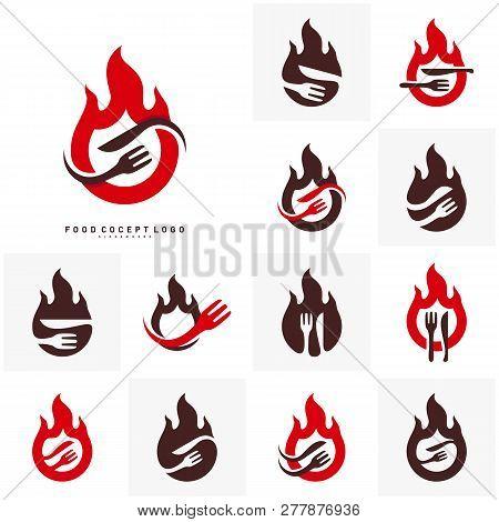Set Hot Steak Logo Vector & Photo (Free Trial) | Bigstock