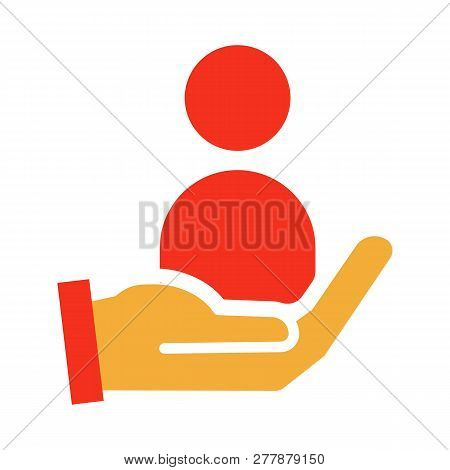 Vector Trendy Flat Glyph Icon Design. Illustration With A Hand And A Person For Job Recruitment, Hir