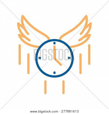Trendy Thin Line Flying Clock Icon. Vector Illustration For Concepts Of Time Flies, Rush, Express De
