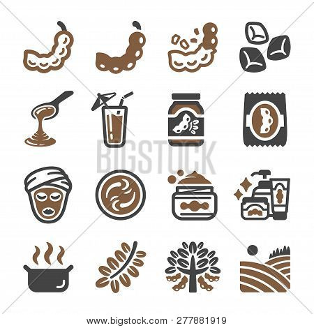 Tamarind And Produce Icon Set Vector And Illustration