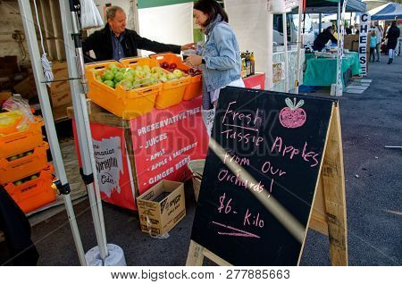Gosford, New South Wales, Australia - April 30, 2017: Gosford City Farmers Markets, Marked Day At Go