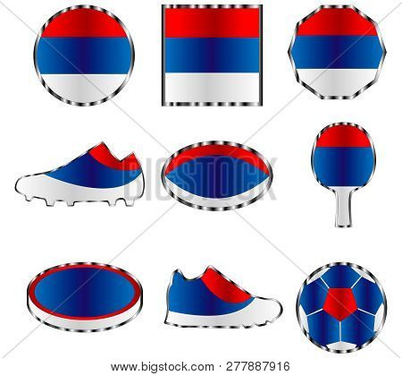 Icon Set Of Colors Of The Flag Of Republika Srpska, Isolated On White Background