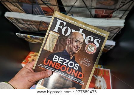 Amsterdam, Netherlands - October 08, 2018: Forbes Magazine With Jeff Bezos On The Cover In A Hand. J