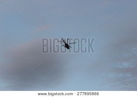 Helicopter Parking Landing On Offshore Platform, Helicopter Transfer Crews Or Passenger To Work In O
