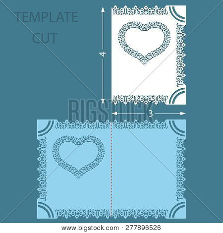 Template Greeting Congratulatory Card With A Decorative Border On The Edge. Laser Cut  Wedding Invit