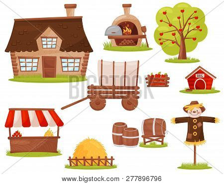 Flat Vector Set Of Farm Icons. Small House, Wood-fired Oven, Fruit Tree, Pile Of Hay, Market Stall