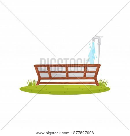 Metal Water Trough With Faucet In Wooden Stand. Container For Water. Farm Theme. Cartoon Vector Desi