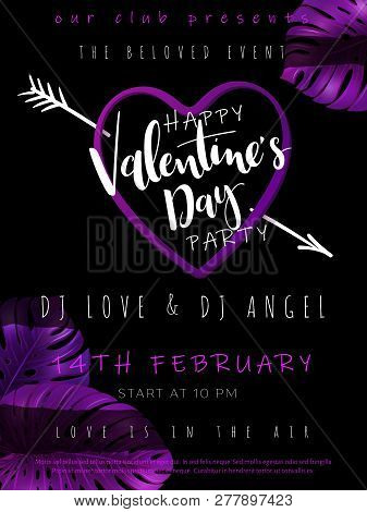 Vector Illustration Of Valentines Day Party Poster Template With Hand Lettering Label - Happy Valent