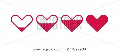 Heart Batteries, Charging Love, Set Of Conceptual Prints Of Heart. Vector Illustration