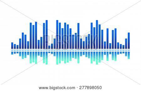 Vector Design Of Digital Music Wave. Bright Blue Spectrum-bars. Audio Equalizer. Sound Pulse