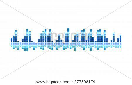 Vector Design Of Music Wave. Blue Spectrum-bars. Digital Equalizer. Sound Vibrations