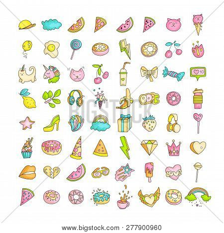 Cute Funny Girl Teenager Colored Icon Set, Fashion Cute Teen And Princess Icons - Pizza, Unicorn, Ca
