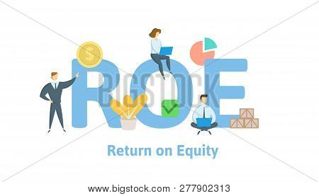 Roe, Return On Equity. Concept With Keywords, Letters And Icons. Flat Vector Illustration. Isolated