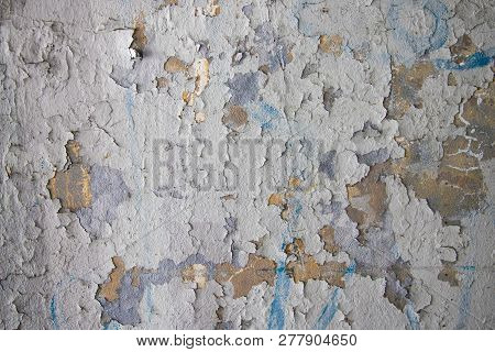 Decrepit White Dirty Plaster Wall With Cracked Structure Horizontal Empty Grunge Background. Old Gra
