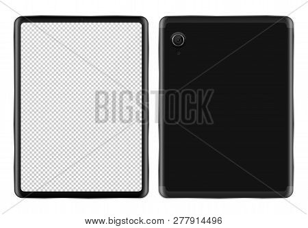 Realistic Tablet Pc Mockup On White Background Isolated Vector Illustration. Black Mobile Device Wit