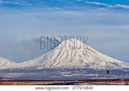 One Of The Volcanoes Of Kamchatka. Volcanoes Of Kamchatka Are Fascinating. Their Mysteriousness Attr