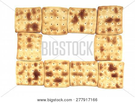 Roasted Biscuits Without Sugar Arranged In A Frame Isolated On A White Background. Mosk Up To Post A