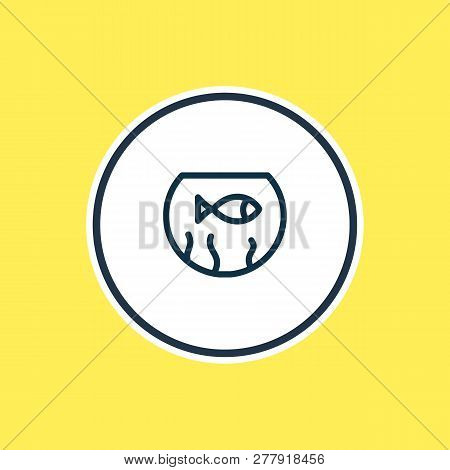 Vector Illustration Of Fishbowl Icon Line. Beautiful Fauna Element Also Can Be Used As Fish Icon Ele