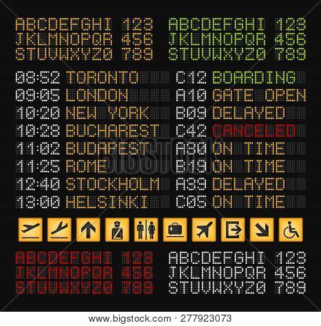 Airport Board Constructor Realistic Composition With Set Of Yellow Red White And Green Letters For A
