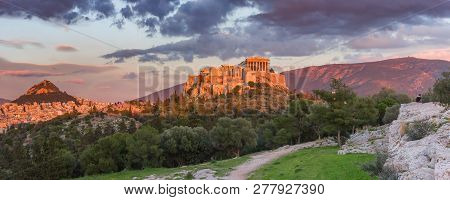 Aerial Panoramic View Of The Acropolis Hill With Parthenon And Mount Lycabettus At Gorgeous Sunset I