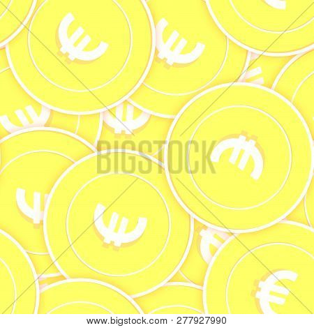 European Union Euro Gold Coins Seamless Pattern. Sublime Scattered Yellow Eur Coins. Success Concept