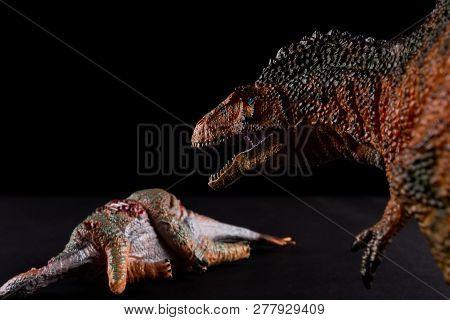 Acrocanthosaurus In Front Of A Stegosaurus Body On Dark Background