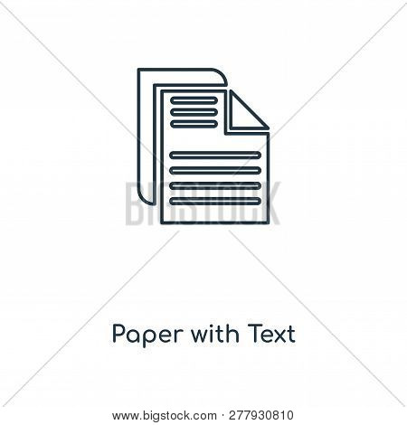 Paper With Text Icon In Trendy Design Style. Paper With Text Icon Isolated On White Background. Pape