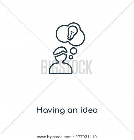 Having An Idea Icon In Trendy Design Style. Having An Idea Icon Isolated On White Background. Having
