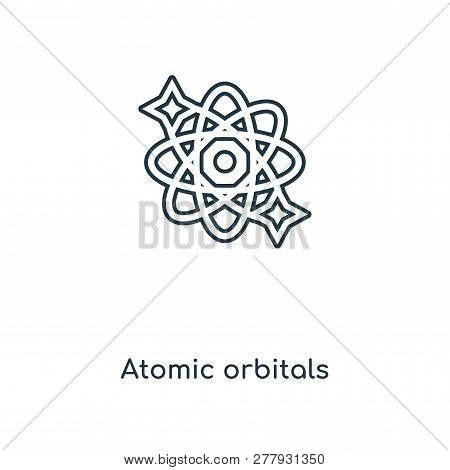 Atomic Orbitals Icon In Trendy Design Style. Atomic Orbitals Icon Isolated On White Background. Atom