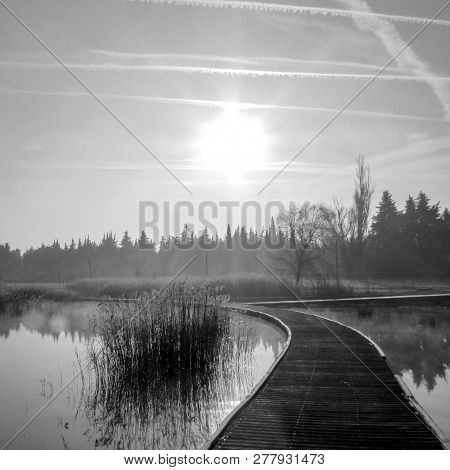 Black And White Background With Wood Path Walkway At Lake Shore On A Calm Tranquil Winter Morning. F